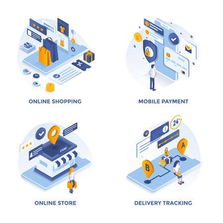 Nowoczesne mieszkanie izometryczne zaprojektowane ikony koncepcji zakupów online, płatności mobilnych, sklepu internetowego i śledzenia dostaw. Może być używany do projektów internetowych i aplikacji. Ilustracja wektorowa