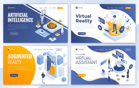 Set of Landing page design templates for Artificial Intelligence, Virtual Reality, Augmented Reality and Virtual Assistant. Easy to edit and customize. Modern Vector illustration concepts for websites