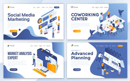 Set of Landing page design templates for Social Media marketing, Coworking center, Marketing Analysis expert and Advanced Planning. Easy to edit and customize. Modern Vector illustration concepts for websites