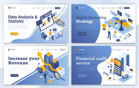 Set of Landing page design templates for Data Analysis, Digital Marketing Strategy, Incease your Revenue and Financial audit. Easy to edit and customize. Modern Vector illustration concepts for websites Vectores