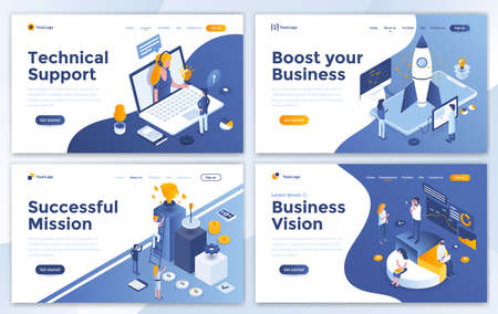 Set of Landing page design templates for Technical Support, Boost your Business, Successful Mission and Business Vision. Easy to edit and customize. Modern Vector illustration concepts for websites Illusztráció