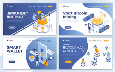 Set of Landing page design templates for Cryptocurrency marketplace, Bitcoin mining, Smart wallet and Blockchain revolution. Easy to edit and customize. Modern Vector illustration concepts for websites Illusztráció