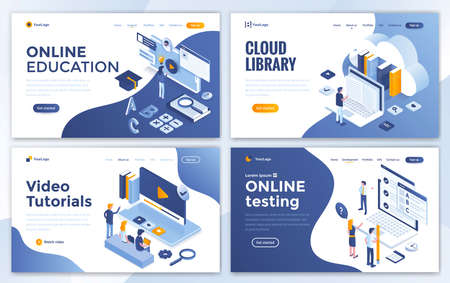 Set of Landing page design templates for Online Education, Cloud Library, Video Tutorials and Online testing. Easy to edit and customize. Modern Vector illustration concepts for websites Stock fotó - 125225097