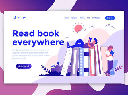 Landing page template of Read Book Everywhere. Modern flat design concept of web page design for website and mobile website. Easy to edit and customize. Vector illustration Stock fotó - 125225098