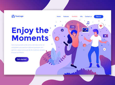 Landing page template of Enjoy the Moments. Modern flat design concept of web page design for website and mobile website. Easy to edit and customize. Vector illustration