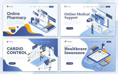 Set di modelli di progettazione della pagina di destinazione per farmacia online, supporto medico online, controllo cardio e assicurazione sanitaria. Facile da modificare e personalizzare. Concetti di illustrazione vettoriale moderna per siti Web Vettoriali
