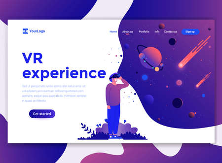 Landing page template of VR Experience. Modern flat design concept of web page design for website and mobile website. Easy to edit and customize. Vector illustration Stock fotó - 125225102