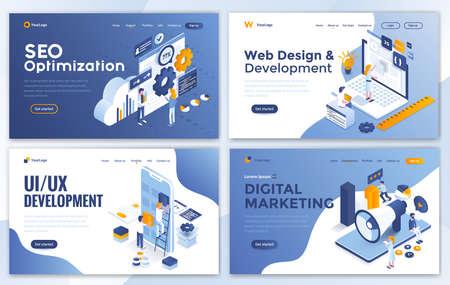 Set of Landing page design templates for SEO, Web Design, Ui Development and Digital Marketing. Easy to edit and customize. Modern Vector illustration concepts for websites Illustration