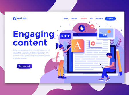 Landing page template of Engaging content. Modern flat design concept of web page design for website and mobile website. Easy to edit and customize. Vector illustration Ilustrace