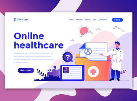 Landing page template of Online Healthcare. Modern flat design concept of web page design for website and mobile website. Easy to edit and customize. Vector illustration