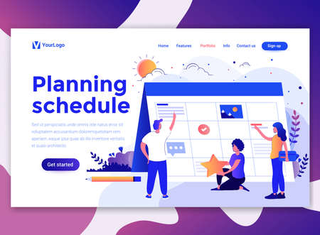 Landing page template of Planning Schedule. Modern flat design concept of web page design for website and mobile website. Easy to edit and customize. Vector illustration Stock fotó - 125047623