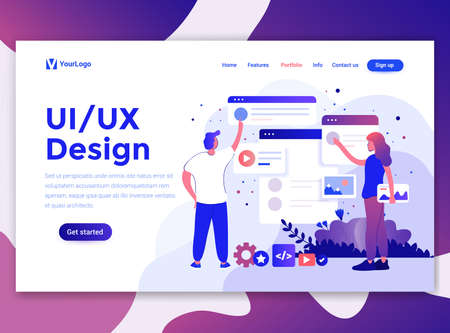 Landing page template of Ui/Ux Design. Modern flat design concept of web page design for website and mobile website. Easy to edit and customize. Vector illustration 写真素材 - 125047624
