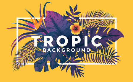 Tropical background with jungle plants. Frame with tropic leaves on yellow background, can be used as Exotic wallpaper, Greeting card, poster, placard. Vector Illustration