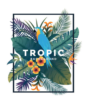 Tropical background with jungle plants. Frame with tropic leaves and Parrot, can be used as Exotic wallpaper, Greeting card, poster, placard. Vector Illustration Stock fotó - 124765465