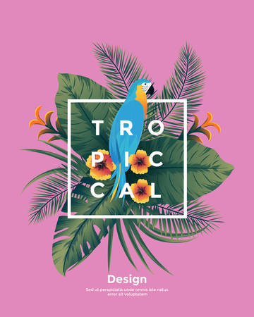 Tropical background with jungle plants. Frame with tropic leaves and Parrot, can be used as Exotic wallpaper, Greeting card, poster, placard. Vector Illustration