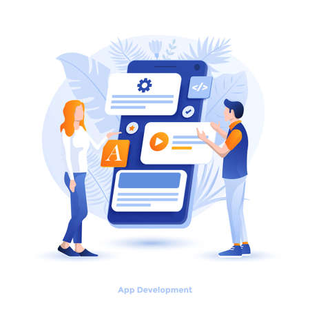 Modern flat design illustration of App development. Can be used for website and mobile website or Landing page. Easy to edit and customize. Vector illustration 写真素材 - 134806510