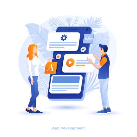 Moderne flache Designillustration der App-Entwicklung. Kann für Website und mobile Website oder Landing Page verwendet werden. Einfach zu bearbeiten und anzupassen. Vektor-Illustration