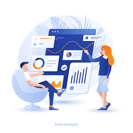 Modern flat design illustration of Data Analysis. Can be used for website and mobile website or Landing page. Easy to edit and customize. Vector illustration  イラスト・ベクター素材