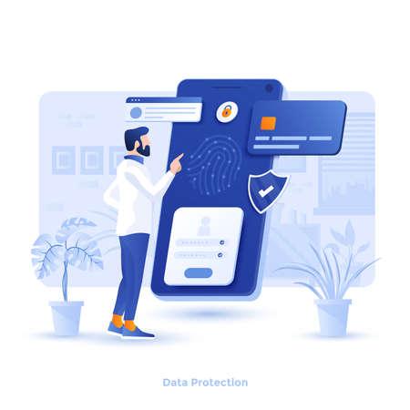 Moderne flache Designillustration des Datenschutzes. Kann für Website und mobile Website oder Landing Page verwendet werden. Einfach zu bearbeiten und anzupassen. Vektor-Illustration