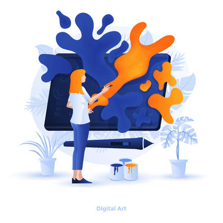 Modern flat design illustration of Digital art. Can be used for website and mobile website or Landing page. Easy to edit and customize. Vector illustration Ilustracja