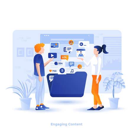 Illustrazione moderna di design piatto di contenuti coinvolgenti. Può essere utilizzato per il sito Web e il sito Web mobile o la pagina di destinazione. Facile da modificare e personalizzare. Illustrazione vettoriale
