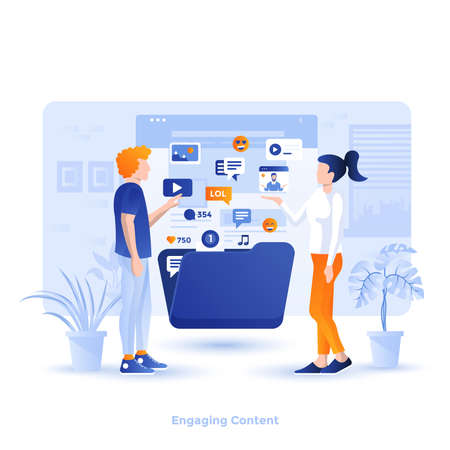 Modern flat design illustration of Engaging Content. Can be used for website and mobile website or Landing page. Easy to edit and customize. Vector illustration Reklamní fotografie - 134806549