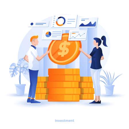 Moderne flache Designillustration der Investition. Kann für Website und mobile Website oder Landing Page verwendet werden. Einfach zu bearbeiten und anzupassen. Vektor-Illustration