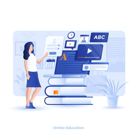 Modern flat design illustration of Online Education. Can be used for website and mobile website or Landing page. Easy to edit and customize. Vector illustration 向量圖像