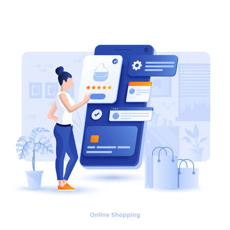 Modern flat design illustration of Online Shopping. Can be used for website and mobile website or Landing page. Easy to edit and customize. Vector illustration