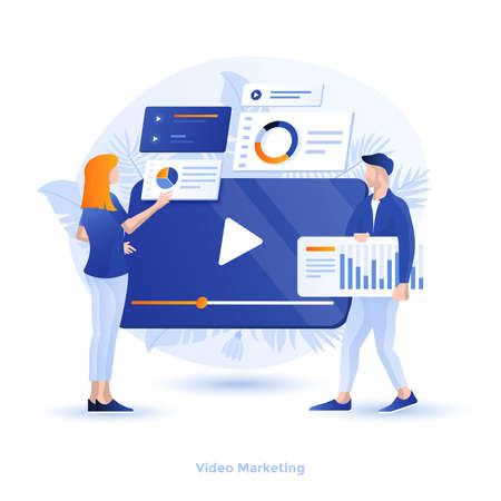 Modern flat design illustration of Video Marketing. Can be used for website and mobile website or Landing page. Easy to edit and customize. Vector illustration Çizim