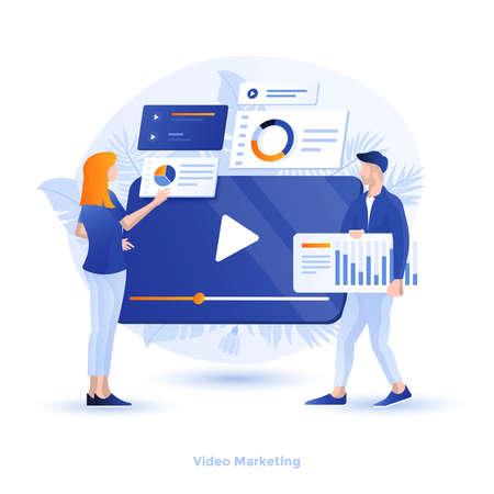 Moderne flache Designillustration des Videomarketings. Kann für Website und mobile Website oder Landing Page verwendet werden. Einfach zu bearbeiten und anzupassen. Vektor-Illustration
