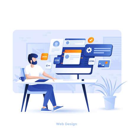 Nowoczesna, płaska konstrukcja ilustracji Web Design. Może być używany na stronie internetowej i mobilnej lub Landing page. Łatwe do edycji i dostosowywania. Ilustracja wektorowa Ilustracje wektorowe
