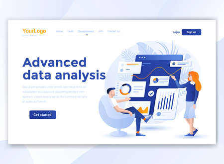 Landing page template of Advanced data analysis. Modern flat design concept of web page design for website and mobile website. Easy to edit and customize. Vector illustration