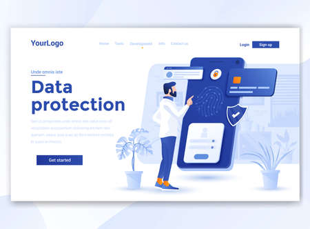 Landing page template of Data Protection. Modern flat design concept of web page design for website and mobile website. Easy to edit and customize. Vector illustration 向量圖像