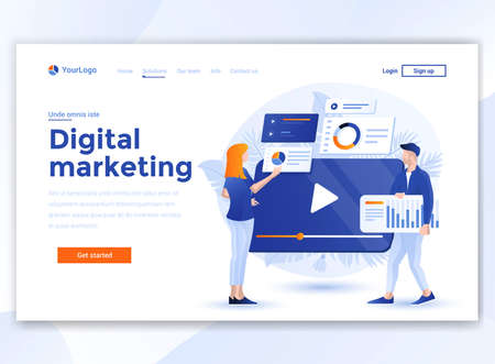 Landing page template of Digital Marketing. Modern flat design concept of web page design for website and mobile website. Easy to edit and customize. Vector illustration 向量圖像