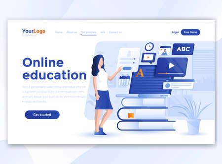 Landing page template of Online Education. Modern flat design concept of web page design for website and mobile website. Easy to edit and customize. Vector illustration 向量圖像