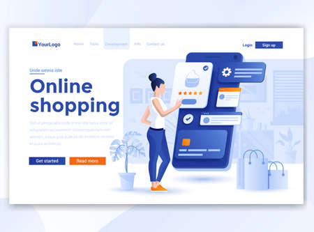 Landing page template of Online Shopping. Modern flat design concept of web page design for website and mobile website. Easy to edit and customize. Vector illustration Иллюстрация