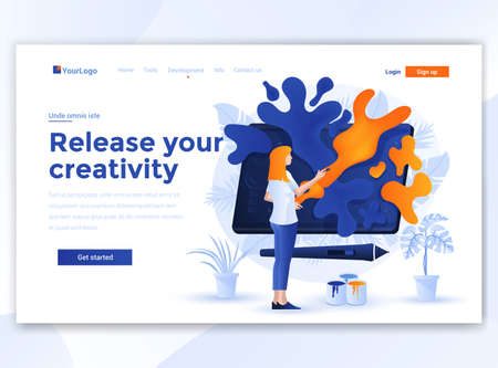 Landing page template of Relese your creativity. Modern flat design concept of web page design for website and mobile website. Easy to edit and customize. Vector illustration Ilustracja