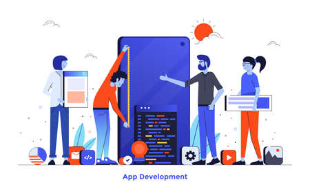 Modern flat design illustration of App Development. Can be used for website and mobile website or Landing page. Easy to edit and customize. Vector illustration isolated on white background.
