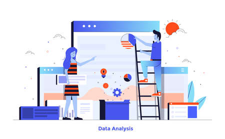 Modern flat design illustration of Data Analysis. Can be used for website and mobile website or Landing page. Easy to edit and customize. Vector illustration isolated on white background.