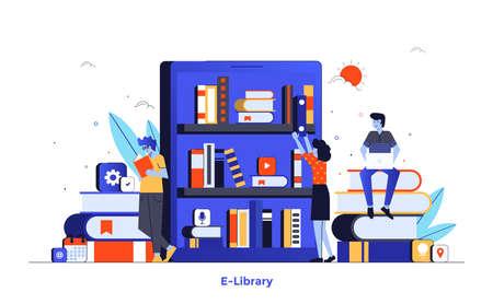 Nowoczesna, Płaska konstrukcja ilustracji E-biblioteki. Może być używany na stronie internetowej i mobilnej lub na stronie docelowej. Łatwe do edycji i dostosowywania. Ilustracja wektorowa na białym tle. Ilustracje wektorowe