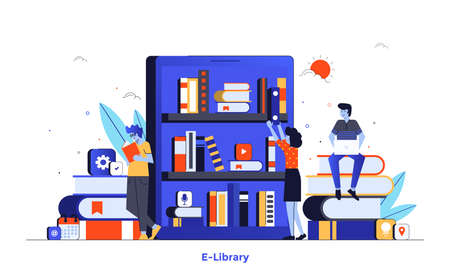 Modern flat design illustration of E-library. Can be used for website and mobile website or Landing page. Easy to edit and customize. Vector illustration isolated on white background.