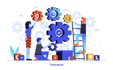 Modern flat design illustration of Teamwork. Can be used for website and mobile website or Landing page. Easy to edit and customize. Vector illustration isolated on white background.
