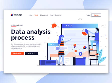 Landing page template of Data Analysis process. Modern flat design concept of web page design for website and mobile website. Easy to edit and customize. Vector illustration Illusztráció