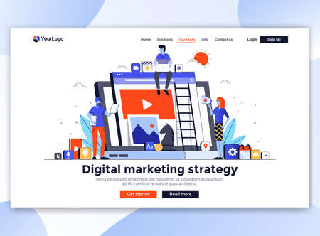 Landing page template of Digital marketing strategy. Modern flat design concept of web page design for website and mobile website. Easy to edit and customize. Vector illustration