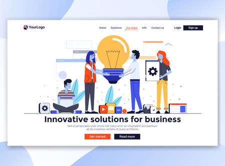 Landing page template of Innovative solutions. Modern flat design concept of web page design for website and mobile website. Easy to edit and customize. Vector illustration Illusztráció