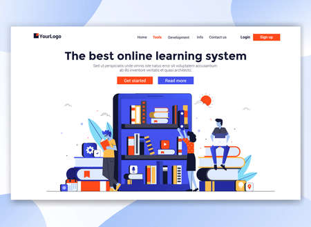 Landing page template of Online education. Modern flat design concept of web page design for website and mobile website. Easy to edit and customize. Vector illustration Illusztráció