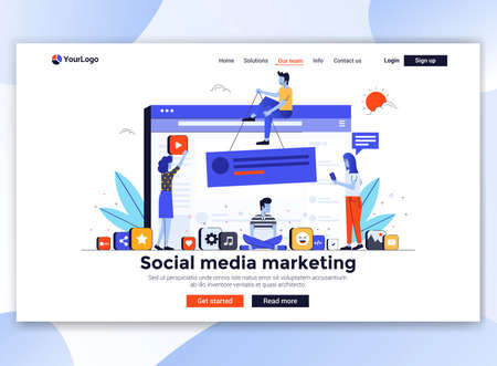 Modèle de page de destination du marketing des médias sociaux. Concept de design plat moderne de conception de pages Web pour site Web et site Web mobile. Facile à modifier et à personnaliser. Illustration vectorielle
