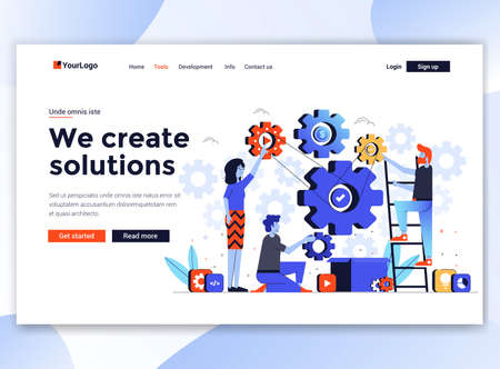 Landing page template of We create solutions. Modern flat design concept of web page design for website and mobile website. Easy to edit and customize. Vector illustration Illusztráció