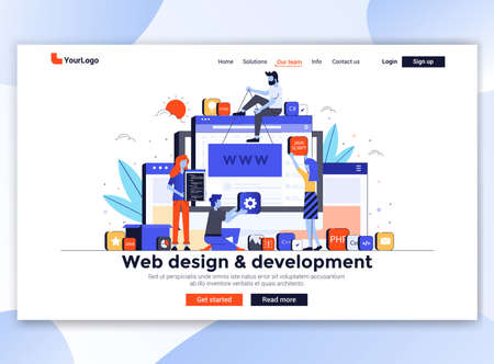 Landing page template of Web design and development. Modern flat design concept of web page design for website and mobile website. Easy to edit and customize. Vector illustration Ilustrace